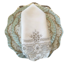 Vintage white linen napkins with blue embroidery